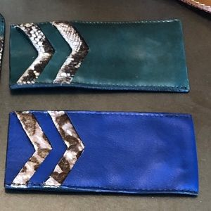 Green Leather Lace Card Case holder